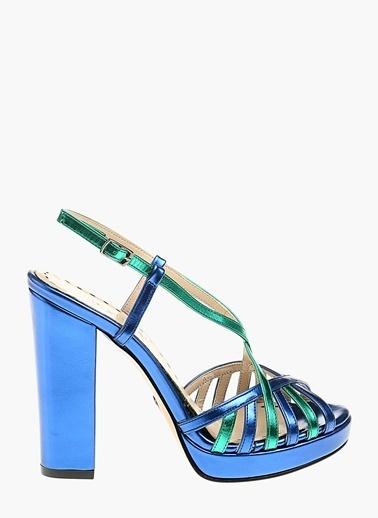 Divarese 5021196 Platformlu Suni Deri Kadın Sandalet Mavi